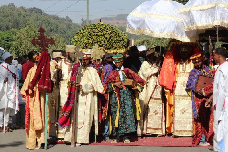 Timket (Gondar) – Procession, tabot return to the church